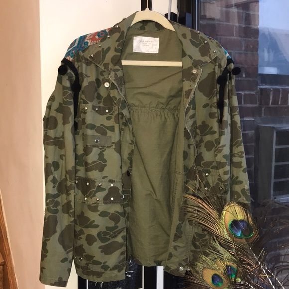 a0056edb Zara Jackets & Coats | Embroidered Camo Jacket | Poshmark